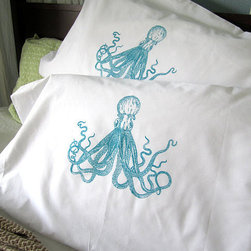 Screen Printed Octopus Pillow Cases By ohlittlerabbit - I love the look of these screen-printed octopus pillow covers.