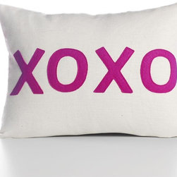 """Alexandra Ferguson - Alexandra Ferguson XOXO Pillow-Cream/Fuchsia - 4 letters that pack so much punch and transcend language... Pillow dimensions: 10""""x14"""" (approx) Recycled polyester fill insert included. The felt that I use is made from 100 percent post consumer recycled water bottles. So, you drink water, throw the empty bottle in the recycling bin. Then they are melted down and turned them into this beautiful, really high quality soft felt that I then use to make pillows. All pillows have a nylon zipper closure, with the alexandra ferguson logo embroidered on the center back bottom."""