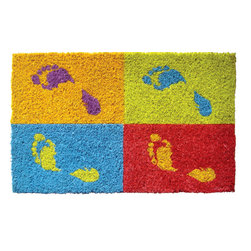 Entryways - Footprints Hand Woven Coconut Fiber Doormat - Single Doormat, hand-woven, hand-painted, hand-stenciled, fade resistant, natural coir (coconut fiber), durable, best location is covered area, shake or sweep clean.