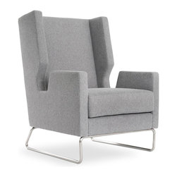 Gus Modern - Gus Modern Danforth Chair, Fairmont Limestone - This wingback is no throwback, that's for sure. Its cutting-edge cutaway arms and tubular, stainless steel base are the height of modern design — a witty, elegant addition to your favorite setting.