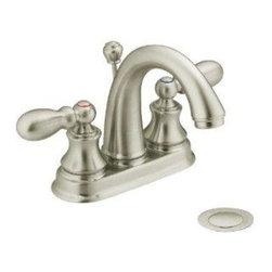 """Moen - Moen Harlon Centerset Brushed Nickel Lavatory Faucet 84238BN - Moen """"Harlon"""" Lavatory Faucet With Pop-Up."""