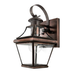Quoizel - Carleton Outdoor Wall Sconce No. 8406 by Quoizel - The Quoizel Carleton Outdoor Wall Sconce No. 8406 features a handsome, colonial appearance, adding historic charm to the home. Antique-styled solid copper shows off a square tapered frame and clear beveled glass, providing an elegant touch to the light. For more than 80 years, Quoizel (based in Charleston, SC) has dedicated itself to bringing timeless lighting designs into modern homes. By consciously avoiding design fads, consistently balancing form and function and using only the highest quality materials, Quoizel lighting designs do indeed stand the test of time.