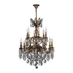 "Worldwide Lighting - Versailles 18 Light Antique Bronze Finish & Crystal Chandelier 27"" D Two 2 Tier - This stunning 18-light Chandelier only uses the best quality material and workmanship ensuring a beautiful heirloom quality piece. Featuring a cast aluminum base in Antique Bronze finish and all over clear crystal embellishments made of finely cut premium grade 30% full lead crystal, this chandelier will give any room sparkle and glamour. Worldwide Lighting Corporation is a privately owned manufacturer of high quality crystal chandeliers, pendants, surface mounts, sconces and custom decorative lighting products for the residential, hospitality and commercial building markets. Our high quality crystals meet all standards of perfection, possessing lead oxide of 30% that is above industry standards and can be seen in prestigious homes, hotels, restaurants, casinos, and churches across the country. Our mission is to enhance your lighting needs with exceptional quality fixtures at a reasonable price."