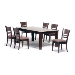 None - Sorrento Dining Table - Bring a new life to your dining room with this modern dining table. This dining table features a sleek and elegant style that will look great with many home decors. This table is constructed of solid rubberwood and has an elegant wenge finish.