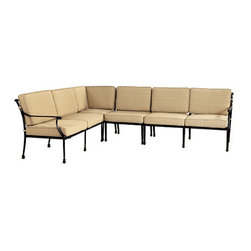 Ballard Designs - Amalfi 4-Piece Sectional - Coordinates with our Amalfi Outdoor Collection. Includes Corner Chair, Armless Chair, Right Arm Loveseat & Left Arm Loveseat. Basic tan cushions included. Sand black finish resists rust and chipping. Extremely strong, yet light enough for easy placement. Each piece in this inviting 4-piece sectional is crafted of cast aluminum, so the decoration can be more ornate and finely detailed. Seat backs feature an intricate basket weave design with a rich 3-dimensional look and are beautifully scrolled on both sides, so you can enjoy the pattern from behind.Amalfi 4-Piece Sectional features: . . . . . Assembly required. Replacement cushions available. . Use of an outdoor furniture cover is recommended to extend the life of your piece.