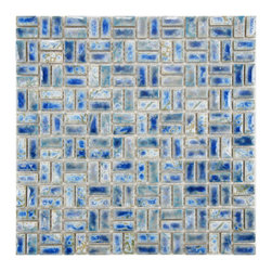 None - SomerTile 12-inch Samoan Weave Neptune Blue Porcelain Mosaic Tiles (Pack of 10) - These Samoan Weave mosaic tiles are constructed out of glazed porcelain mosaic tile. Perfect for kitchens,backsplashes,bathrooms,and outdoor applications this pack of ten 12-inch tiles offers a smooth finish with a medium sheen.