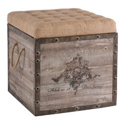 Aidan Gray Decor Storage Cube - This pretty, rustic storage cube with a burlap-covered top and rope handles is so unique.