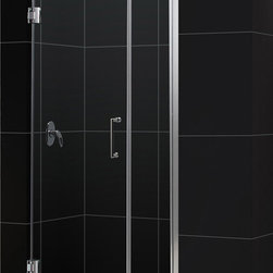 DreamLine - DreamLine SHDR-20427210-01 Unidoor 42 to 43in Frameless Hinged Shower Door, Clea - The Unidoor from DreamLine, the only door you need to complete any shower project. The Unidoor swing shower door combines premium 3/8 in. thick tempered glass with a sleek frameless design for the look of a custom glass door at an amazing value. The frameless shower door is easy to install and extremely versatile, available in an incredible range of sizes to accommodate shower openings from 23 in. to 61 in.; Models that fit shower openings wider than 31 in. have an adjustable wall profile which allows for width or out-of-plumb adjustments up to 1 in.; Choose from the many shower door options the Unidoor collection has to offer for your bathroom renovation. 42 - 43 in. W x 72 in. H ,  3/8 (10 mm) thick clear tempered glass,  Chrome, Brushed Nickel or Oil Rubbed Bronze hardware finish,  Frameless glass design,  Width installation adjustability: 42 - 43,  Out-of-plumb installation adjustability: Up to 1 in. one side (total 1 in.),  Self-closing solid brass wall mount hinges,  Door opening: 29 in.,  Stationary panel: 12 in.,  Reversible for right or left door opening installation,  Material: Tempered Glass, Brass