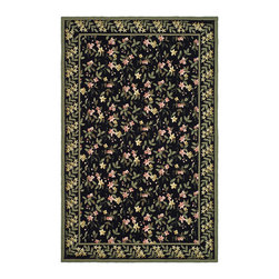 """Safavieh - Christofor Hand Hooked Rug, Black / Green 3'9"""" X 5'9"""" - Construction Method: Hand Hooked. Country of Origin: China. Care Instructions: Vacuum Regularly To Prevent Dust And Crumbs From Settling Into The Roots Of The Fibers. Avoid Direct And Continuous Exposure To Sunlight. Use Rug Protectors Under The Legs Of Heavy Furniture To Avoid Flattening Piles. Do Not Pull Loose Ends; Clip Them With Scissors To Remove. Turn Carpet Occasionally To Equalize Wear. Remove Spills Immediately. Wilton collection, a line of coordinated rugs and broadloom that re-creates classic Wilton patterns in a proprietary hand-hooked construction."""