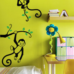 Cherry Walls - Monkey See, Monkey Tree Decal - The only business these monkeys are getting into is having serious fun. Go explore your wild side with this monkey wall decal, sure to bring out grins in adults and kids alike. Your two new friends will make playtime an exciting jungle adventure — and liven up the walls, too.