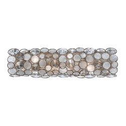 Crystorama Lighting - Crystorama Lighting 526-SA Palla Eclectic Bathroom Light in Antique Silver - Crystorama Lighting 526-SA Palla Eclectic Bathroom Light In Antique Silver With Natural White Capiz Shell + Hand Cut Crystal