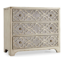 Hooker Furniture - Fretwork Chest - How can a piece work this hard and still look so good? The beauty of this three-drawer chest comes from the wood in a distressed pearl finish and intricate fretwork covering antiqued mirror drawer fronts. Use it nearly anywhere — beside a sofa or bed, in an entryway, in your office or in your bath or dressing room.