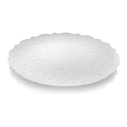 """Alessi - Alessi """"Dressed"""" Round Tray, White - This round tray is made of deep down stainless steel and almost completely decorated with series' motif, both on the top and underneath, by means of relief molding."""
