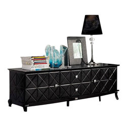 VIG Furniture - AK538-180 Black Crocodile Lacquer Entertainment Console - The AK538-180 entertainment center is modern luxury furniture at it's finest. The TV unit is crafted from solid wood products with a stunning black lacquer finish. The lacquer features a stunning laser etched crocodile texture along with a stylish X design that adds to the overall look and feel of the unit. The TV console has a door on each side that reveals ample storage cubbys. Within the middle are two pull out drawers adding even more storage for your electronic devices.
