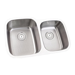 """TCS Home Supplies - 32 Inch Stainless Steel Undermount 60/40 Double Bowl Kitchen Sink - 16 Gauge - 16 Gauge Stainless Steel Kitchen Sink.  60/40 Offset Double Bowl.  Undermount Installation.  Brushed Stainless Steel Finish.  Dimensions 31-3/4"""" x 20-1/2"""" x 9"""" 