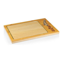 Picnic Time - Picnic Time Icon Cutting Board with Removable Serving Tray - Natural Wood Multic - Shop for Serveware from Hayneedle.com! Hard meats cheeses fruit or even crackers covered with deli meat and spray cheese are easy to enjoy on the Picnic Time Icon Cutting Board with Removable Serving Tray - Natural Wood. This simple and self-contained set features a board of solid rubberwood with a banded edge of eco-friendly bamboo. Beneath the cutting surface of tempered glass is a recessed slot for the matching stainless steel knife. A food-safe natural finish helps highlight the beauty of the materials while it gives you an accessory that fits in any kitchen. About Picnic TimeEven the name makes you smile! Since 1982 Picnic Time's mission has been to sell traditional European-style picnic baskets in America that everyone could afford. The company has continued to develop innovative and practical outdoor leisure products that inspire relaxation with friends and family. With a product line that continues to develop far beyond the traditional picnic basket (though theirs are the finest picnic baskets around!) Picnic Time will take you to the beach the country the mountains ... or best of all your own backyard.