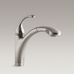 "KOHLER - KOHLER Fort�(R) single-hole or 3-hole kitchen sink faucet with 10-1/8"" pullout s - Fluid design lines make the Fort� faucet a versatile addition to your kitchen decor. A high-arch, pullout spout offers convenience for washing bulky items, while a single lever handle allows you to turn on the water and find your ideal temperature in one"