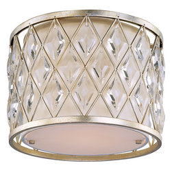 Maxim Lighting - Maxim Lighting 21451OFGS Diamond Contemporary Flush Mount Ceiling Light - Diamond-shaped crystals gracefully fit the openings in these metal frames finished in a rustic Golden Silver finish, and creamy Off White fabric shades line each frame of the Diamond collection. The oval-shaped pendant is sure to be the focal point of any fine décor.