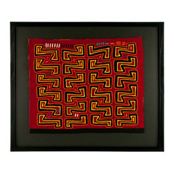 "Salvatecture Studio - Vintage Framed Panama Kuna Mola ""Zed"" Wall Art - There's no chance you'll be catching any Z's with this vibrant piece of artwork hanging on your wall. Handcrafted by Panamanian Kuna women, this vintage mola showcases a reverse appliqué technique that can incorporate up to seven layers of fabric. Framed in black wood and set against a black mat background, it's truly a work of art."