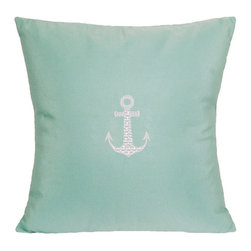 """Nantucket Bound, Inc. - Sunbrella Anchor Pillow by Nantucket Bound, Glacier Blue - Nantucket Bound's indoor/outdoor pillow measures 18"""" square and features and embroidered anchor design. Fabric is fade and weather-resistant Sunbrella, making it ideal for bedroom to family room and patio to poolside! Cover removes for machine washing.  Insert included.    Available in 5 coordinating colors."""