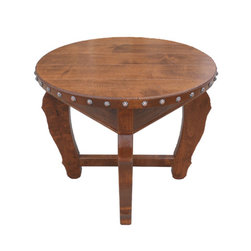 Hacienda Round End Table - The Hacienda Round End Table is handcrafted out of solid alder wood and distressed to give it a more rustic look.  Tables are available in 8 different stain colors and have decorative nail heads around the table top.  Size can be customized if needed and you can choose to have different nail heads or no nail heads at all.  Other customization options include adding a shelf on bottom or drawers.  Table shown has English Chestnut stain.