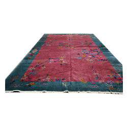 Individual - Consigned: Antique 10'x17' Chinese Art Deco Area Rug - This is an authentic handmade Chinese rug. If you are looking for an oversize Chinese art deco, but did not have the budget, here I have a fantastic piece for you. When it comes to antique oversize Persian and oriental rugs, prices are much higher than regular room sizes , because oversize were made in much smaller number and because of that choices are very limited. An antique excellent condition 10' x 17' art deco Chinese such as this one easily could have price tag of between $15,000.00 and $20,000.00 at any retail shops. But the one that I am offering here is not in excellent condition.the entire rug has low even pile, some areas are lowers and show wears, but it does not show any foundation threads. You still can use this one at your home, but can pay away less due to those low areas. As you see, it has an attractive color combination with awesome nice unsymmetrical bald Art Deco pattern. It measures 10' x 17'.