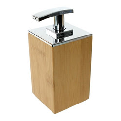 Gedy - Bamboo Wood Soap Dispenser - Add super luxe modernism to your bathroom or kitchen sink area with this bamboo wood soap dispenser. This sleek, geometric, high-quality soap dispenser is Italian designed, and has a minimalist polished chrome pump for extra shine.