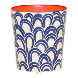 Worlds Away Oval Wastebasket, Navy Cream - Worlds Away Oval Wastebasket, Navy Cream