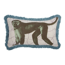 Thomas Paul - Menagerie Collection, Monkey Pillow - If only it was possible to sew all the Thomas Paul pillows together into a sofa. It would be the most talked about sofa in town. All the bright colored fauna and flora, the patchwork of silk and linen--it would truly be a masterpiece. The only thing that keeps us from doing this is--we don't know how to sew. And then there is that business about somehow attaching legs. We're even more clueless on how to do that.