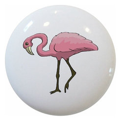 Carolina Hardware and Decor, LLC - Pink Flamingo Ceramic Knob - New 1 1/2 inch ceramic cabinet, drawer, or furniture knob with mounting hardware included. Also works great in a bathroom or on bi-fold closet doors (may require longer screws). Item can be wiped clean with a soft damp cloth. Great addition and nice finishing touch to any room!