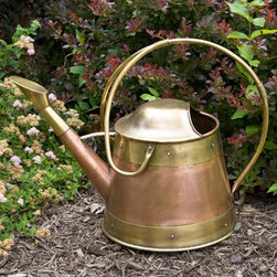 Conical Hammered Copper Watering Can - This Conical Hammered Copper Watering Can features a unique handle, and stunning Aged Brass accents. This hand-made watering can has an oval spray rose.