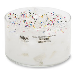 Primal Elements - Sprinkles Two Wick Color Bowl Candle - Sprinkles features rainbow sprinkles on a bed of sugar and sweet cream. 9.5 ounce Color Bowl Candles have an approximate burn time of 35-40 hours.