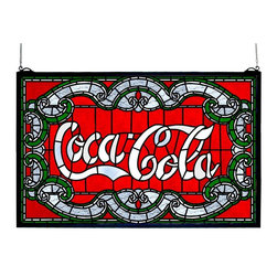 Meyda Tiffany - Coca-Cola Victorian Window Panel - Made from stained glass shade. 24 in. W x 15 in. H (40 lbs.). Care InstructionsOne of the most recognizable and iconic symbols of our time Coca - Cola a true American original has teamed up with another true American original Meyda tiffany to offer these beautiful one of a kind stained glass windows.