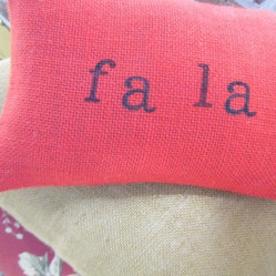 Fa La La Burlap Pillow by Ramona Owen Designs