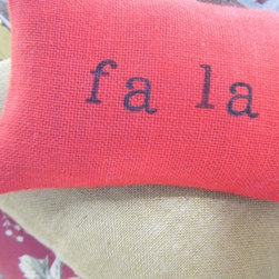 "Fa La La Burlap Pillow by Ramona Owen Designs - Pillow shams are such an easy way to add some holiday flair, and even easier to put away for next year. I love this ""fa la la"" pillow."