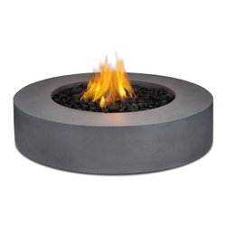 "Real Flame - Real Flame Mezzo Round Propane Fire Pit - Flint Gray - Define your outdoor space with the clean design of a Real Flame Mezzo Round Fire Table. Cast from a high performance, lightweight fiber-concrete with an outdoor safe finish, this fire table comes complete with lava rock filler and a weatherproof cover for when the table is not in use. The Mezzo Collection carries an ETL Certification and features an electronic ignition. Collection available in Flint Grey or Antique White finishes.-Burns Liquid Propane, rated at up to 60,000 BTUs of heat-Certified for use with standard 20lb LP tank, for up to 7 hours (high setting) or 22 hours (low setting) of burn time.-Cast from painted fiber-concrete and heavy gage steel.-Limited Warranty: 90 days on fiber-concrete finish, 1 year for all components-Basic assembly required-Assembled Dimensions: 42.25"" D x 11.5"" H; 117 lbs.-Includes: LP fire table, 60,000 BTU circular burner, medium black lava rock, electronic ignition, leveling feet, 8 gas hose, tank seat for 20lb. LP cylinder, vinyl cover"