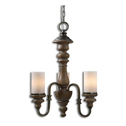 Uttermost - Uttermost Torreano 3 Light Wooden Chandelier - 3 Light Wooden Chandelier belongs to Carolyn Kinder Collection by Uttermost Heavily Distressed Solid Wood Turnings Finished In An Aged Pecan Stain With Burnished Taupe Arms And Glass Faux Candles. Chandelier (1)