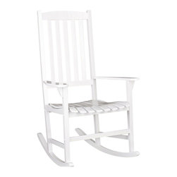 Southern Enterprises - Southern Enterprises Porch Rocker in White - Southern Enterprises - Rocking Chairs - CR7801. Bring home this beautiful white rocker! It will be the perfect addition to your patio, sunroom or deck. Featuring a contoured seat for added comfort and wooden slats for quick drying after a refreshing rainfall. You will want to spend hours reading in this comfortable hardwood rocker!