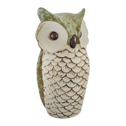 Mottled Sage Green Ceramic Owl Statue 10 Inches Tall - This ceramic owl statue adds an elegant accent to your home or garden. The back of the statue is a lovely mottled sage green color, and the face and breast feathers are tan, accented with brown. The owl measures 10 inches tall, 5 1/4 inches wide, 4 1/4 inches deep. This unique item is sure to be admired, and makes a great gift for any owl loving friend.