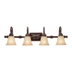 "Capital Lighting - Barclay 4-Light Vanity Fixture - Chesterfield Brown - Barclay 4-Light Vanity Fixture.  Available in Chesterfield Brown or Creek Stone finish.  Takes four 100W bulbs.  UL Listed.  Rated for Damp locations.  Shade Material: Mist Scavo glass shades.  Backplate: 10 "" w x 5"" h"