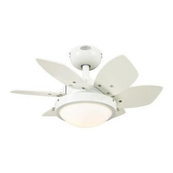 Westinghouse - Indoor Ceiling Light with Fan: Westinghouse Quince 24 in. White Ceiling Fan 7247 - Shop for Lighting & Fans at The Home Depot. With its white finish, 6 reversible blades, and opal frosted glass light fixture, the Westinghouse Quince 24 in. White Ceiling Fan will add contemporary comfort to any small room. Ideal for rooms up to 80 sq. ft. (8 ft. x 10 ft.) with standard 8 ft. ceilings, this fan features a 153 mm x 9 mm silicon steel motor with a dual capacitor for powerful, quiet air circulation. 3 fan speeds (high/medium/low) and a reversible switch allow maximum control over your indoor climate. Run the fan counterclockwise in the summer to keep your space cooler and clockwise in the winter to recirculation warm air from the ceiling. The ceiling fan provides airflow of up to 2,039 CFM. It is rated to operate at 31 watts at high speed (without lights), which gives it an airflow efficiency rating of 67 CFM/watt. The Quince fan is remote control adaptable and comes with everything you need for installation, including a 3/4 in. x 4 in. (D x L) down rod, a 78 in. lead wire, and 2 candelabra-base 40 watt G16-1/2 light bulbs. It is backed by a lifetime motor warranty and a 2-year warranty on all other parts.