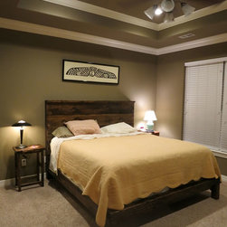 James+James Raised Bed with Panel Headboard. Queen-sized. - James+James Raised Bed with Panel Headboard. Queen-sized.