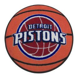 Fanmats - NBA Detroit Pistons Rug Basketball Shaped Mat - FEATURES: