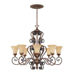 Designers Fountain - Designers Fountain Montreaux Traditional Chandelier X-GWB-88518 - Warm finishes and classic details with a hint of contemporary style give a warm, inviting look to this Designers Fountain chandelier. From the Montreaux Collection, the clear French influencing has been highlighted by a Burnished Walnut finish complete with gold accenting. The sleek curves of the Navajo dust glass shades add a subtle modern finishing touch.