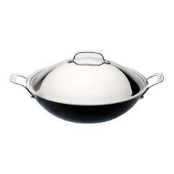 "Berghoff - Berghoff Earthchef Acadian Covered Wok 14"" - Made of cast aluminum for fast and even heat distribution. Features riveted, cast stainless steel handles that stay cool while cooking for added safety. Ceramic non-stick coating that is naturally 6x stronger than traditional non-stick coatings. Has a practical pouring rim making draining and pouring off liquids easy. Polished stainless steel lid. Oven safe. Suitable for all heat sources."