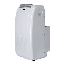 SPT Appliance - Sunpentown 9,000 BTU Dual-Hose Portable AC Sy - 3-in-1 Technology: 9,000 BTU cooling power, Dehumidifier, Fan. Self evaporating technology. LCD display on remote and control panel. SMART Technology. Re-start IC Technology (unit restarts when power resumes after a power failure). 24-hour programmable timer. 3 fan speeds: Auto - High - Low. Fire resistant PVC plastic housing. Auto-swing louvers. Washable air filter collects dust particles. Easy-grip handle and casters for easy mobility. Digital thermostat control. Choice of programmable timer or continuous operation. Extendable exhaust hose (up to 5.5 ft.). Built-in water tank or extended water tube for continuous drainage. Limited 1 year warranty. UL approved. Power consumption: cooling: 977 W. Amperage: 8.5A. Air volume(CFM): 176. Moisture removal: 47 pints/day. Operating temp: 64 ~ 110�F. Thermostat: 64 ~90�F. Control: Digital with LCD. EER: 9.21. dB (High / Low): 50.1 / 47.8. Power supply: 115V / 60Hz. Max room size: 250 sq. ft.. Timer: 1 ~ 24 hours. Fan speeds: 3 (Auto - High - Low). Compressor: Rotary. Refrigerant: R22 / 1.4 lb. Exhaust pipe max length: 5.5 ft. . Exhaust pipe diameter: 5.25 in.. Window kit material: Plastic slider kit. Window kit length: Min: 28.25 in. / Max: 81.5 in.. 18 in. L x 18.5 in. D x 33.5 in. H ( 82 lbs.)This 9,000 BTU, 3-in-1 system provides multi-season comfort. Designed to efficiently cool and dehumidify any space without permanent installation. Effectively improves air circulation in poorly ventilated spaces. Dual hose systems provide fast cooling. With one hose for air intake and the other for air exhaust, there is no negative pressure created inside the room.Self-Evaporating Technology - during the cooling process, water is extracted from the air into the unit. Most of this water is recycled and used to cool the cooling coils. This creates improved cooling efficiently without adding energy cost. The moisture is then pushed out with the exhaust air, leaving you a virtually no-drain unit. In extreme humid conditions, if condensation collects faster than the unit can evaporate, the excess water will collect in the built-in tank. When the tank becomes full, compressor will automatically shut-off and unit will indicate that drainage is needed.