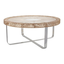 Lazy Susan - Lazy Susan 466036 Natural Split Rattan Coffee Table - Old west meets modern. A combination of natural rattan and cool metal, this contemporary coffee table is like no other. It's casual and unique. Enjoy it all day long — not just a high noon.