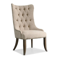 """Hooker Furniture - Rhapsody Tufted Dining Chair - Set of 2 - White glove, in-home delivery included!  The groundbreaking Rhapsody Collection brings together classic design elements, grand scale, and a relaxed rustic finish to create an impassioned marriage of casual opulence.  Exuberant scale and serpentine shapes infuse the pieces with emotion, while timeless motifs like scrolls, rope twist molding, the acanthus leaf and fleur de lis anchor Rhapsody in old world charm.  Building on the grand scale and classic European design is the defining element of the collection: a walnut-colored finish inspired by the natural, yet rustic, nature of reclaimed woods in beautiful patinas.  Set of two chairs.  Seat height: 19 1/2"""" h  Seat space: 20 3/4"""" w x 20 1/4"""" d"""