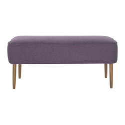 Safavieh - Kalina Bench - Recapturing the design aesthetic of the Fifties in dashing style, the Kalina Bench in plum boasts spindle legs in birch wood in a natural blond oak finish inspired by Danish modern furniture. The straightforward lines are softened by a wool-poly felt fabric.