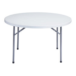 National Public Seating - National Public Seating 48 Inch Round Blow Molded Folding Table in Gray - This National Public Seating round gray blow molded plastic table is great for use at any event where you need to be able to quickly set up and take down tables. Its lightweight yet sturdy body features a 2 inch thick speckled gray plastic top and 17-gauge framing system _ and it can withstand temperatures up to 212 degrees Fahrenheit. Ideal for use in cafeterias, banquet halls, at outdoor functions, catered events, and more, the gray textured legs neatly fold underneath the tabletop to maximize space when storing the tables. And, because it boasts a weather resistant construction, you can use these tables indoors or out!